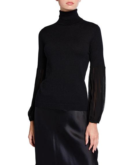 Neiman Marcus Cashmere Collection Chiffon Trim Cashmere Turtleneck Sweater