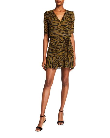 Veronica Beard Dakota Animal-Print 3/4-Sleeve Dress
