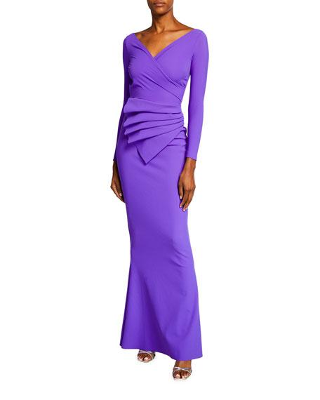 Chiara Boni La Petite Robe Kaya Long-Sleeve Gathered Jersey Gown