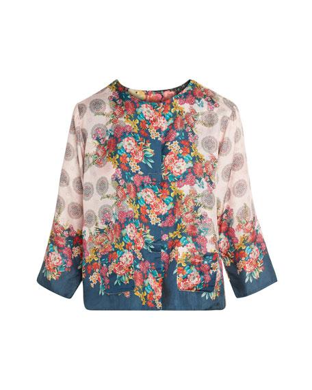 Johnny Was Zoe Floral Print Reversible Silk Jacket