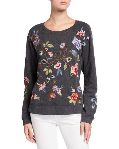 Renata Floral Embroidered Raglan Sweatshirt