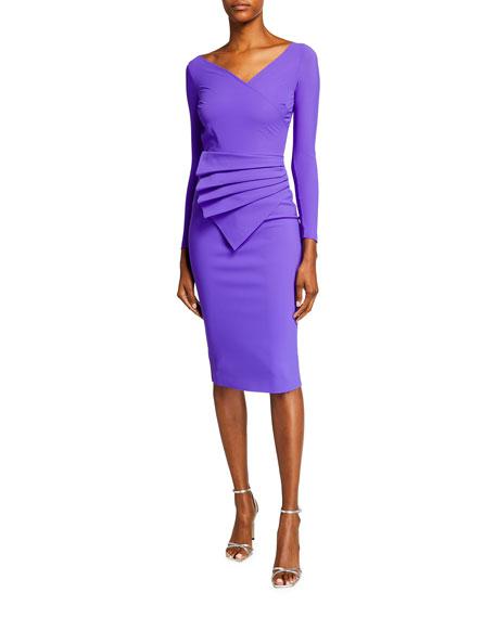 Chiara Boni La Petite Robe V-Neck Long-Sleeve Asymmetric Shirred Detail Dress