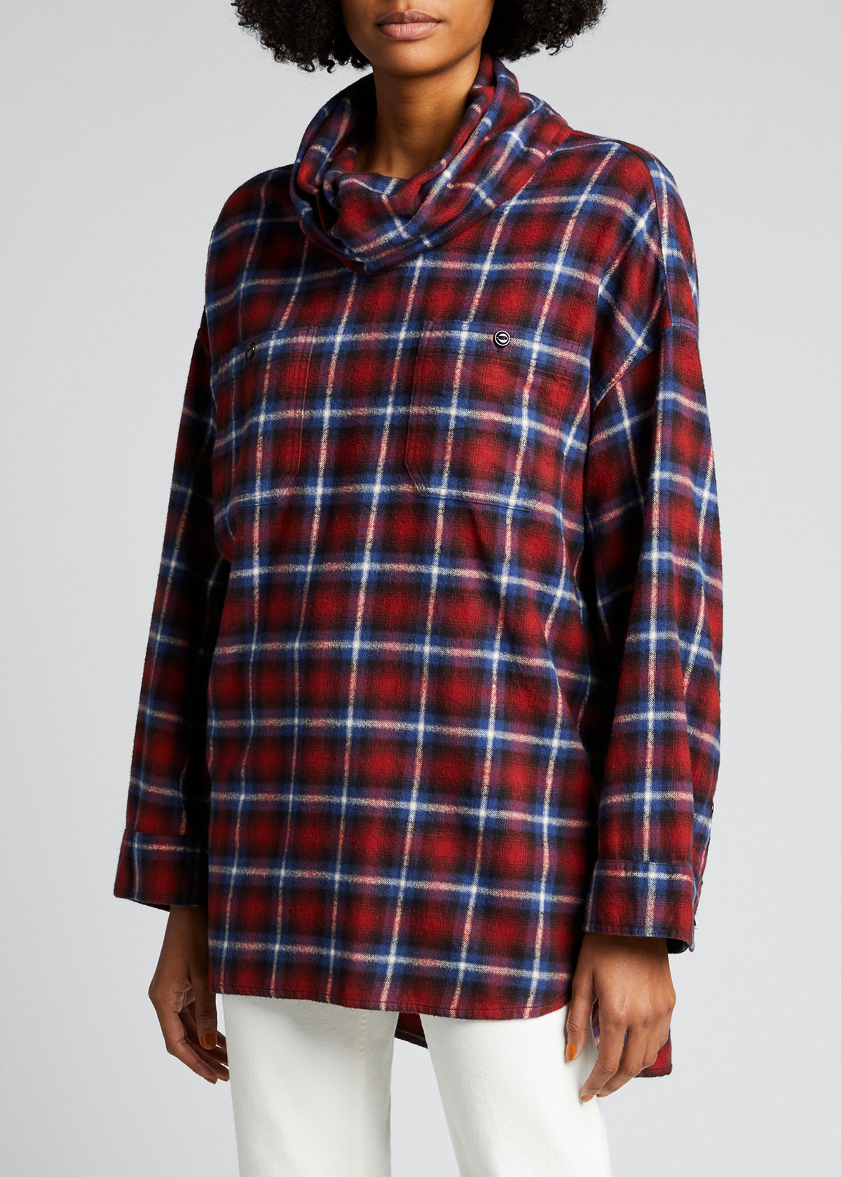 R13 OVERSIZED FLANNEL COWL-NECK SHIRT