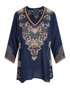 Johnny Was Peyton Embroidered V-Neck Blouse