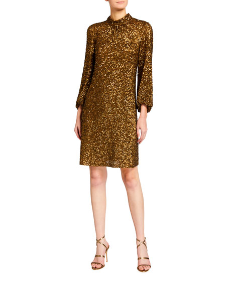 Lafayette 148 New York Axton Shimmering Sequins Dress