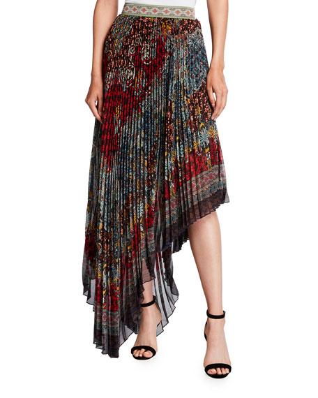 Alice + Olivia Aida Asymmetrical Pleated Midi Skirt