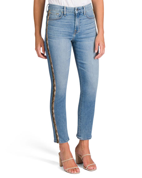 Jen7 by 7 for All Mankind Ankle Straight Jeans with Snake Side