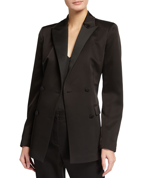 Lafayette 148 New York Holton Radiant Satin Cloth Double-Breasted Blazer