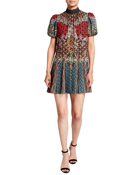 Alice + Olivia Janis Smock-Neck Button-Front Godet Mini Dress