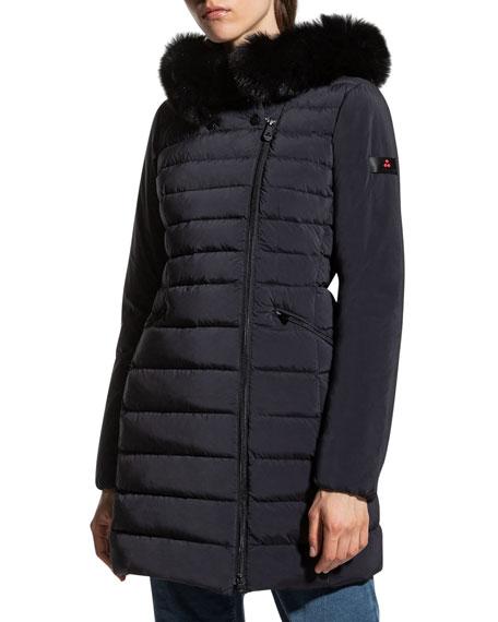 Peuterey Seriola Slim Down Puffer Jacket with Detachable Fur Trim