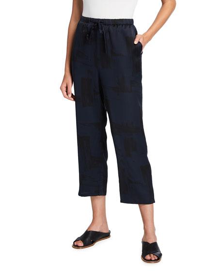 Eileen Fisher Brushstroke Silk-Organic Cotton Crop Pants