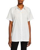 Eileen Fisher Plus Size Short-Sleeve Organic Cotton Stretch