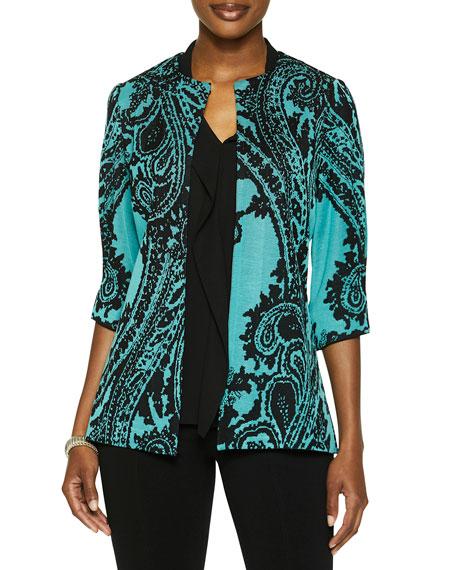 Misook Puff-Sleeve Paisley Knit Jacket