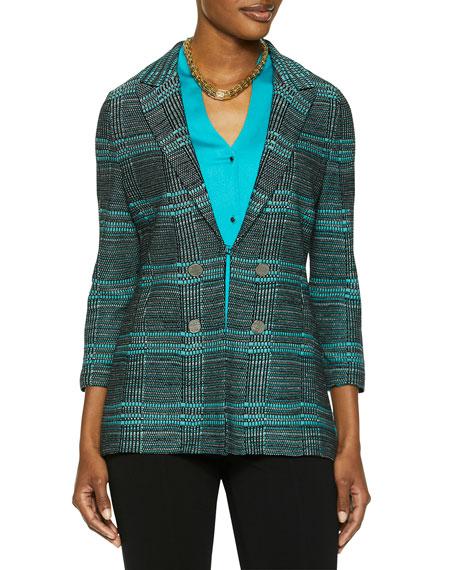 Misook Plaid Button Trim Knit Jacket