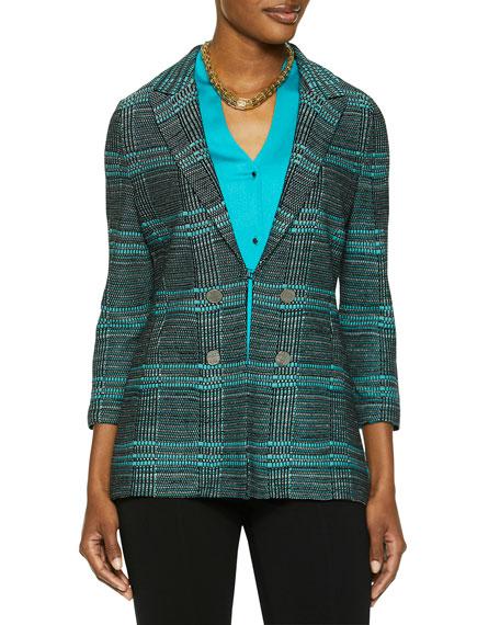 Misook Plus Size Plaid Button Trim Knit Jacket