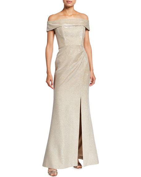 Rickie Freeman for Teri Jon Cuffed Off-the-Shoulder Metallic Jacquard Gown