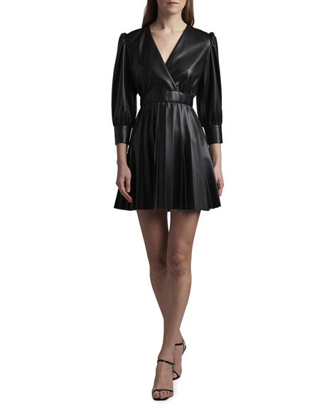 MSGM Eco Leather Pleated Dress