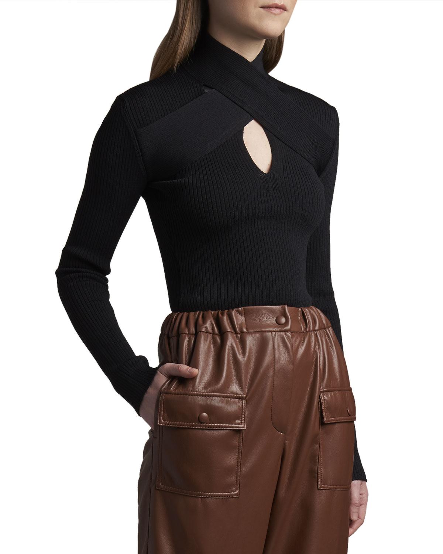Cross-Front Keyhole Sweater