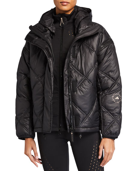 adidas by Stella McCartney Convertible Short Puffer Jacket w/ Removable Hood