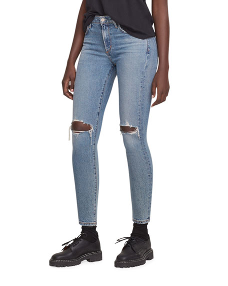 AGOLDE Sophie Mid-Rise Ankle Jeans with Knee Rip