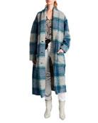 Etoile Isabel Marant Elayo Plaid Long Coat