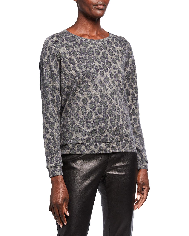 Leopard-Print Cotton-Cashmere Pullover