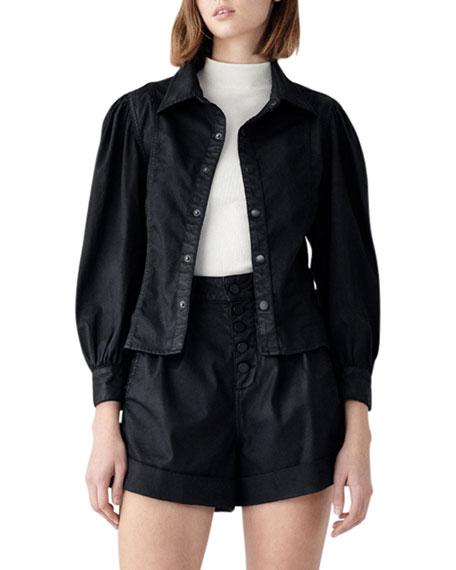 DL1961 Premium Denim Clarita Coated Denim Jacket