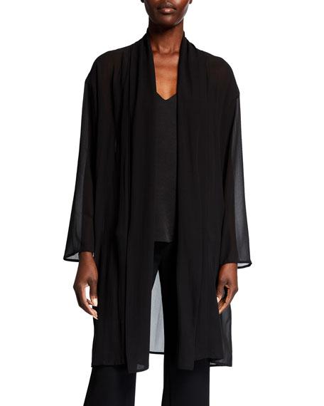 Eileen Fisher Plus Size Sheer Silk Georgette Kimono Jacket