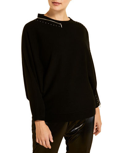 Plus Size Acronico Wool-Blend Sweater with Zipper Trim