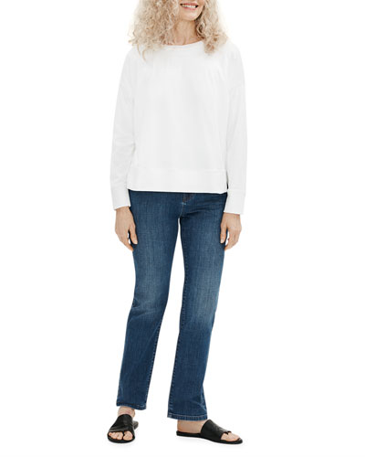 Organic Stretch Cotton High-Rise Straight-Leg Jeans