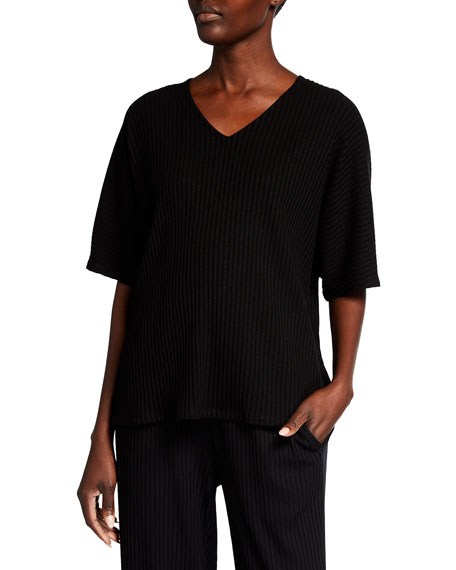 Eileen Fisher Plus Size V-Neck Rib Textured Top