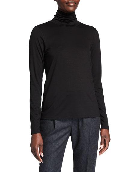 Eileen Fisher Plus Size Scrunch-Neck Long-Sleeve Jersey Top