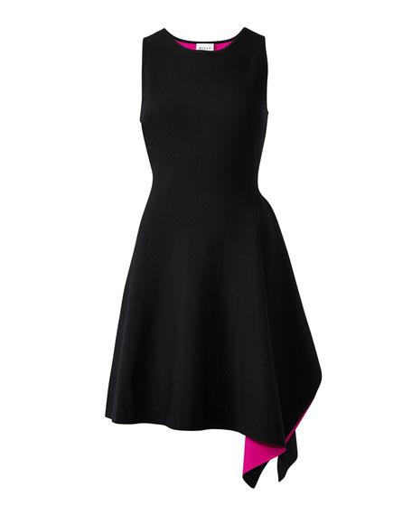 Milly Asymmetrical Hem Double-Knit Sleeveless Dress
