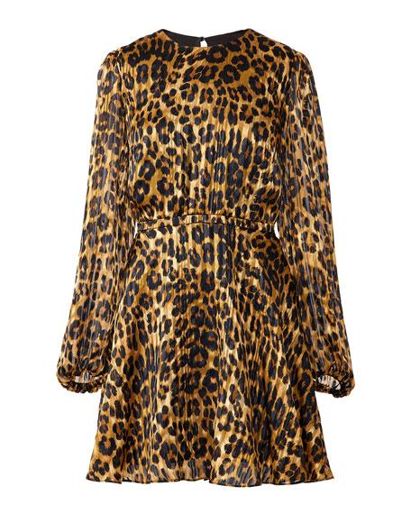Milly Elma Cheetah-Print Burnout Dress