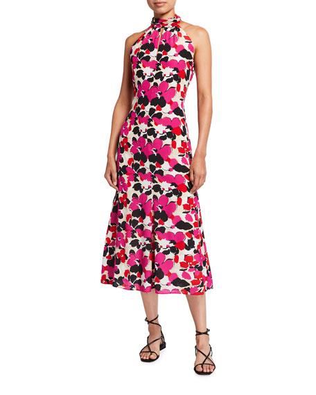 Milly Adrian Viola-Print Silk Midi Halter Dress