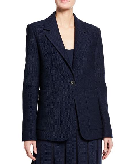 St. John Collection Modern Pique Knit Notch Collar Jacket