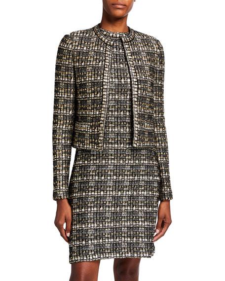 St. John Collection Metallic Boucle Tweed Knit Jacket