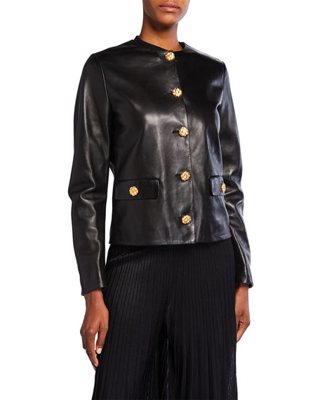 St. John Collection Napa Shiny Leather Jacket with Pockets