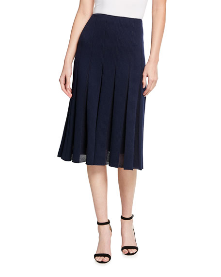 St. John Collection Modern Pique Pleated Knit Skirt
