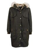 Barbour Whitebeam Waxed Cotton Faux Fur Coat