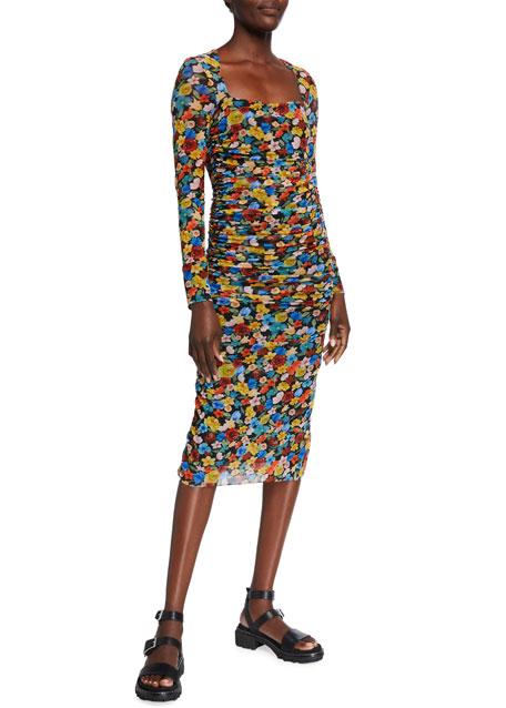 Ganni Floral-Print Long-Sleeve Shirred Mesh Dress
