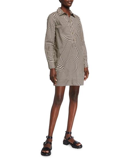 Ganni Spiral Houndstooth Cotton Poplin Mini Shirtdress