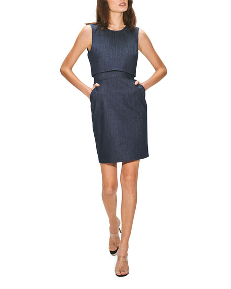Toccin Overlay Denim Sheath Dress