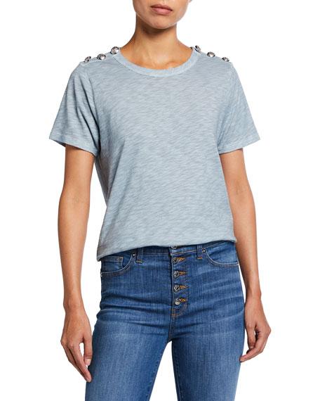 Veronica Beard Jeans Carla Crewneck Embellished Shoulder Tee