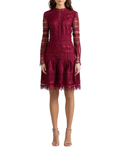 Alycia Mosaic Tile Lace High-Neck Dress