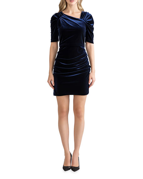 Shoshanna Allen Ruched Stretch Velvet Dress