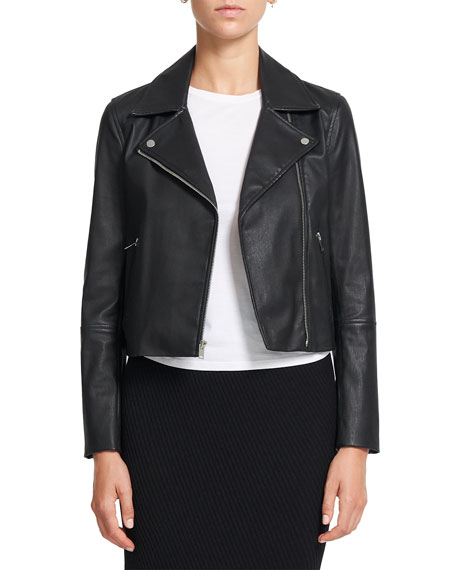 Theory Cropped Leather Moto Jacket