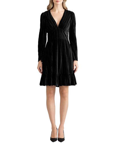 Laine V-Neck Long-Sleeve Pleated Velvet Dress