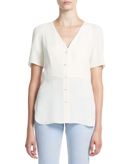 Theory V-Neck Button-Front Silk Vest Shirt