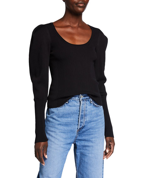 Jonathan Simkhai Mila Rib Knit Scoop-Neck Sweater